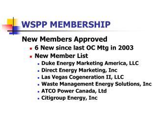 WSPP MEMBERSHIP