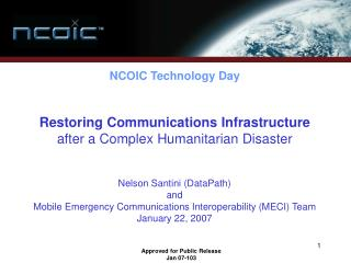 Restoring Communications Infrastructure  after a Complex Humanitarian Disaster