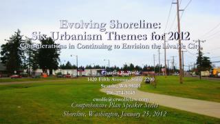 Comprehensive Plan Speaker Series Shoreline, Washington, January 25, 2012
