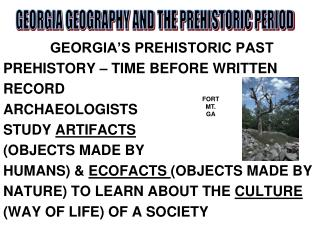GEORGIA�S PREHISTORIC PAST PREHISTORY � TIME BEFORE WRITTEN RECORD ARCHAEOLOGISTS