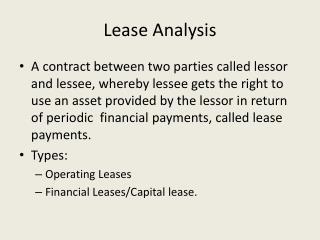 Lease Analysis