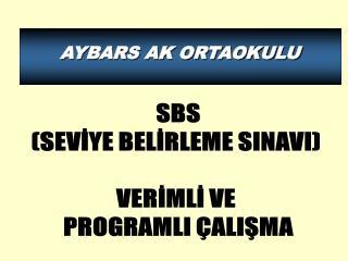 SBS  (SEVİYE BELİRLEME SINAVI)   VERİMLİ VE  PROGRAMLI ÇALIŞMA