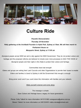Culture  Ride Peaceful Demonstration  Thursday 28 November