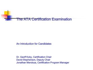 INTRODUCTION TO THE ATA CERTIFICATION EXAMINATION