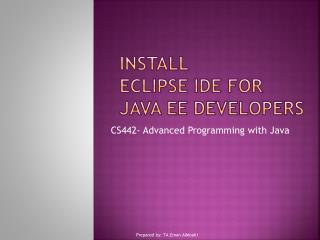 Install Eclipse IDE for Java EE Developers