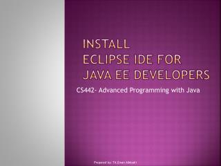Install Eclipse IDE for Java EE Developers