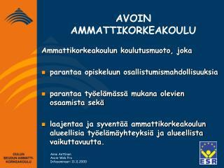 AVOIN AMMATTIKORKEAKOULU