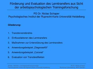 F rderung und Evaluation des Lerntransfers aus Sicht der arbeitspsychologischen Trainingsforschung