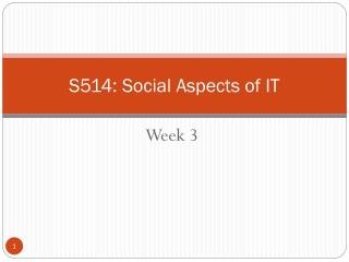 S514: Social Aspects of IT
