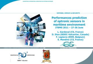Performances prediction of optronic sensors in maritime environment  ITBMS 2011 – 27-30 June