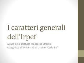 I caratteri generali dell'Irpef