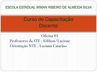 ESCOLA ESTADUAL IRMAN RIBEIRO DE ALMEIDA SILVA  Curso de Capacitação  Docente
