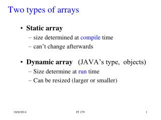 Two types of arrays