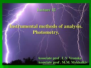 Instrumental methods of analysis. Photometry.
