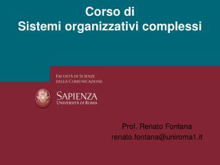 Corso di Sistemi organizzativi complessi