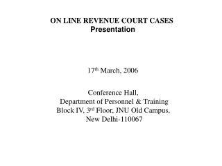 ON LINE REVENUE COURT CASES Presentation