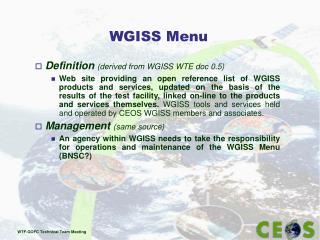 WGISS Menu