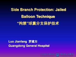 "Side Branch Protection: Jailed Balloon Technique "" 拘禁 "" 球囊分支保护技术"