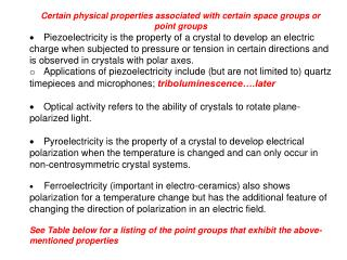 Certain physical properties associated with certain space groups or point groups