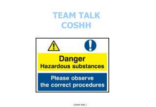 TEAM TALK COSHH