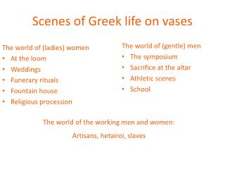 Scenes of Greek life on vases