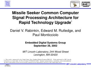 Missile Seeker Common Computer Signal Processing Architecture for Rapid Technology Upgrade *