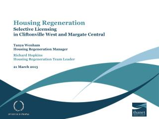 Housing Regeneration Selective Licensing  in Cliftonville West and Margate Central