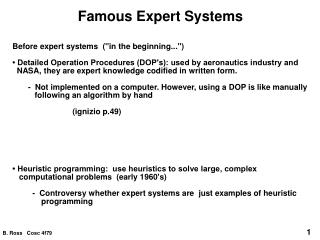 Famous Expert Systems