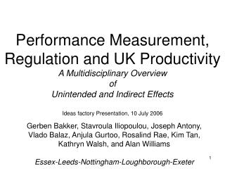 Performance Measurement, Regulation and UK Productivity A Multidisciplinary Overview  of