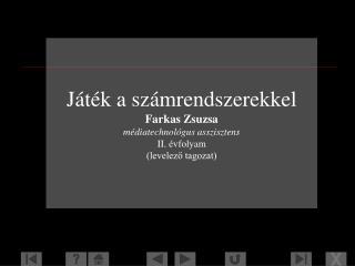 Játék a számrendszerekkel Farkas Zsuzsa médiatechnológus asszisztens II. évfolyam