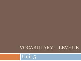 Vocabulary – Level E