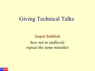 Giving Technical Talks