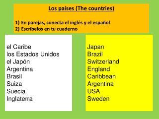 el Caribe los Estados Unidos el Japón Argentina Brasil Suiza Suecia Inglaterra