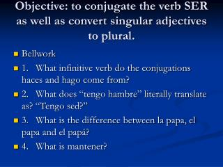 Objective: to conjugate the verb SER as well as convert singular adjectives to plural.