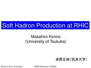 Soft Hadron Production at RHIC