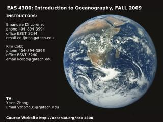 EAS 4300: Introduction to Oceanography, FALL 2009