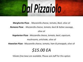 Margherita Pizza  -  Mozzarella cheese, tomato, Basil, olive oil
