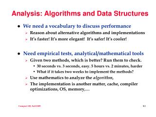 Analysis: Algorithms and Data Structures