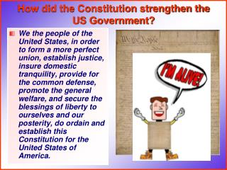 How did the Constitution strengthen the US Government?