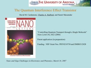 Nano and Giga Challenges in Electronics and Photonics, March 16, 2007
