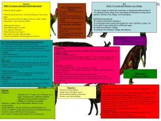 Science TASC-To create a dinosaur world with plants Pupils should be taught to