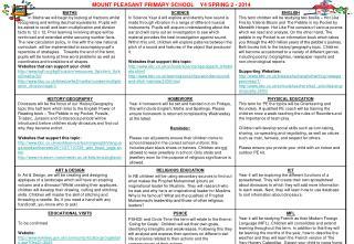 MOUNT PLEASANT PRIMARY SCHOOL    Y4 SPRING 2 - 2014