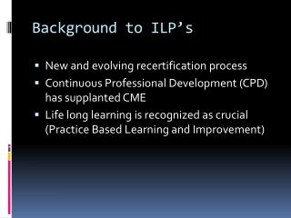 Background to ILP's