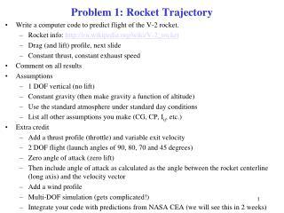 Problem 1: Rocket Trajectory