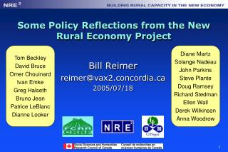Some Policy Reflections from the New Rural Economy Project