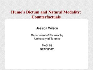 Hume's Dictum and Natural Modality: Counterfactuals