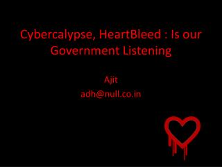 Cybercalypse ,  HeartBleed  : Is our Government Listening
