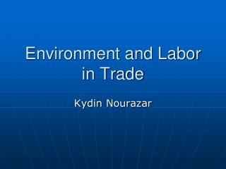 Environment and Labor in Trade