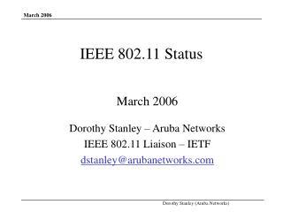 IEEE 802.11 Status