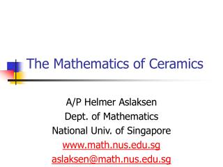 The Mathematics of Ceramics